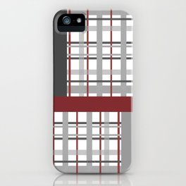 Grey Red Burgundy Checkered Gingham Patchwork Color Canvas iPhone Case