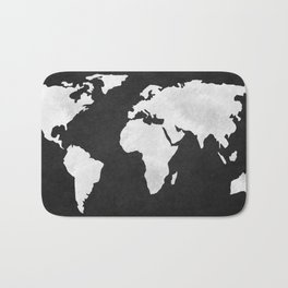 Earth Map Dark Gray and White Continents Bath Mat