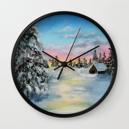 Winter Sunset Snow Scene Painting Wall Clock