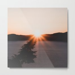 Crater Lake Sunrise // Starburst on a Leaning Pine Metal Print