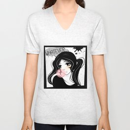 Apathetic mood anime girl Unisex V-Neck