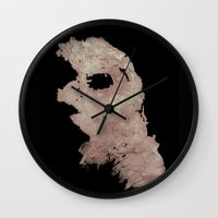 in the flesh Wall Clocks featuring Flesh by Vezper Art