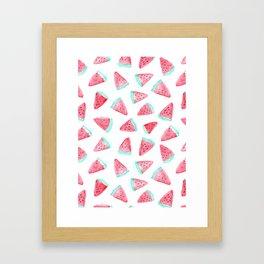Watermelon watercolor pattern Framed Art Print