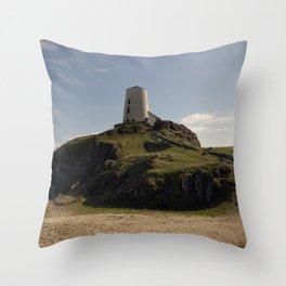 Twr Mawr Lighthouse Throw Pillow
