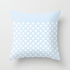 White hearts on light blue background . Throw Pillow