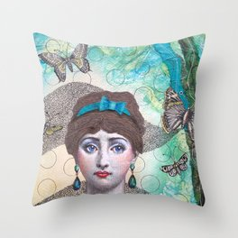 Young lady - Blue Throw Pillow