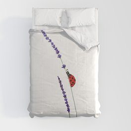 red ladybug and purple lavender Comforters