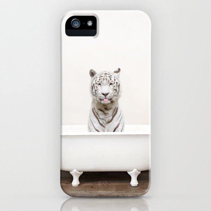 White Tiger in a Vintage Bathtub (c) iPhone Case