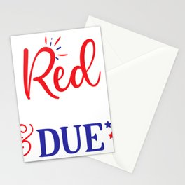 July 4th Memorial Day Labor Day Veterans Day Red White and Due Pregnant Stationery Cards