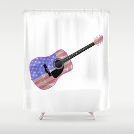 Stars and Stripes Guitar Shower Curtain
