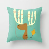 canada Throw Pillows featuring A moose ing by Picomodi