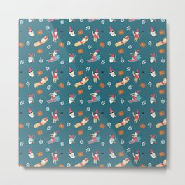 Gnomes on Vacation Blue Metal Print