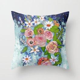 Celestial Sky Flower Garden Throw Pillow