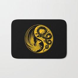 Yellow and Black Dragon Phoenix Yin Yang Bath Mat