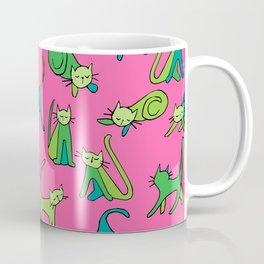 kitty kat (green on pink) Coffee Mug