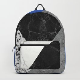 Black and White Marbles and Pantone Lapis Blue Color Backpack