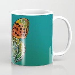 Himalayan Fritillary Butterfly - Emerald Green & Orange Red Coffee Mug