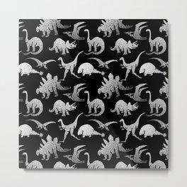 Black and White Dinos Metal Print