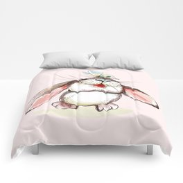 Cute bunny with butterfly. Vector illustration Comforters