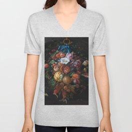 Dutch Floral Still life botanical print(digital download)PRINTABLE Art, botanical print, botanical Unisex V-Neck