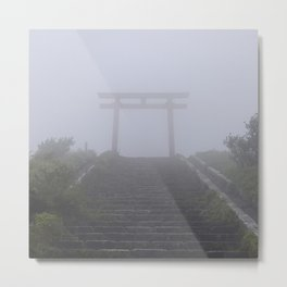 Japanese Torii in the Fog Metal Print
