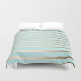 Simply Drawn Stripes White Gold Sands on Succulent Blue Duvet Cover