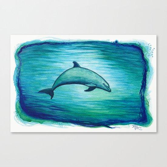"""Indigo Lagoon"" by Amber Marine ~ Watercolor Dolphin Painting, (c) 2015 Canvas Print"