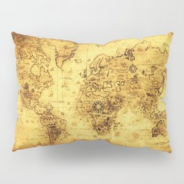 Arty Vintage Old World Map Pillow Sham
