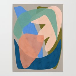 Shapes and Layers no.30 - Large Organic Shapes Blue Pink Green Gray Poster