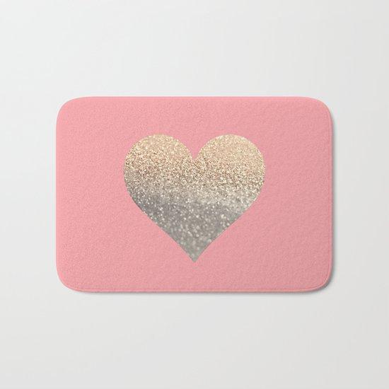GOLD HEART CORAL Bath Mat