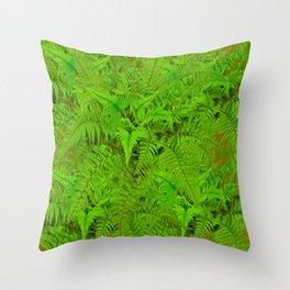 ABSTRACTED  GREEN  TROPICAL FERNS GARDEN ART Throw Pillow