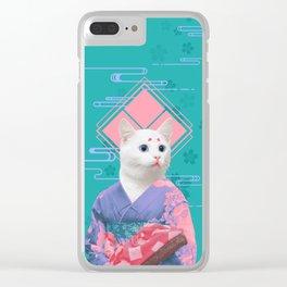 Geisha cat 02 Clear iPhone Case