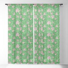 William Morris Honeysuckle, Pink and Emerald Green Sheer Curtain