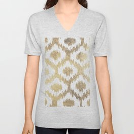 Modern white hand drawn ikat pattern faux gold  Unisex V-Neck