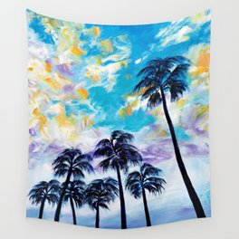 Oceanside Palm Trees Wall Tapestry