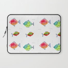 Whimsical fishes watercolor pattern Laptop Sleeve