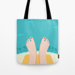 Feet on Beach Tote Bag