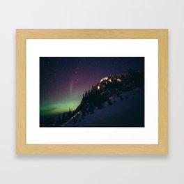 Deer Mountain Northern Lights Framed Art Print