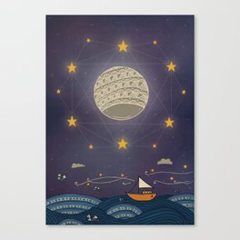 Sailing under the moon Canvas Print