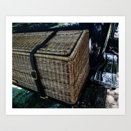 Vintage Car Trunk, Wicker Art Print