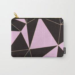 Geometrical elegant black pink watercolor rose gold stripes Carry-All Pouch