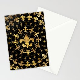 Fleur-de-lis - circular ornament - Gold and black Stationery Cards