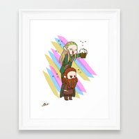 legolas Framed Art Prints featuring Party Legolas and Gimli  by BlacksSideshow