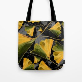 Yellow Ginkgo Leaves on Black Tote Bag