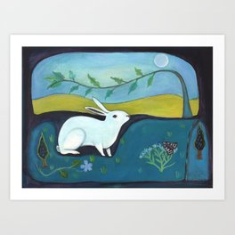 Rabbit in Moonlight Art Print