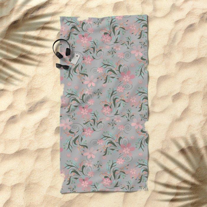 Retro . Pink flowers on grey background . Beach Towel
