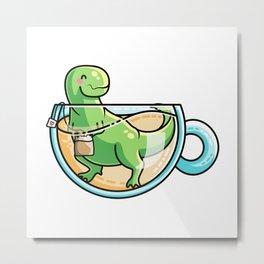 Kawaii Cute Tea-Rex Pun Metal Print