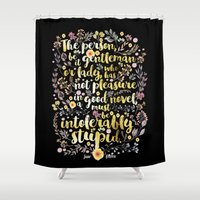 jane austen Shower Curtains featuring Jane Austen - Intolerably Stupid Gold Foil by Evie Seo