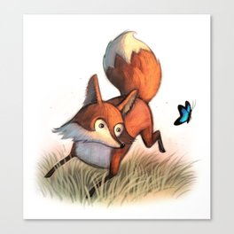 Dancing Fox & Butterfly / illustration Canvas Print