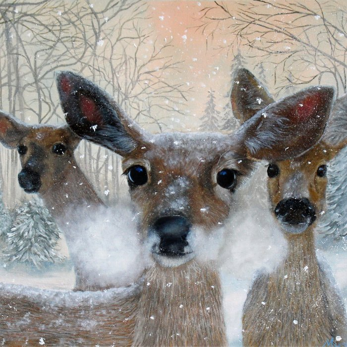 Deer in the Snowy Woods Comforters